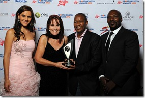 JOHANNESBURG, SOUTH AFRICA - FEBRUARY 23, Nicole Flint, Hilary Jamiason, Shawn Katz and Owen Nkumane during the 2012 Virgin Active Sports Industry Awards from Emperors Palace on February 23, 2012 in Johannesburg, South Africa Photo by Lee Warren / Gallo Images